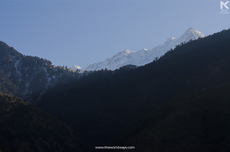 View of Moon Peak in Dhauladhar Range Through Triund