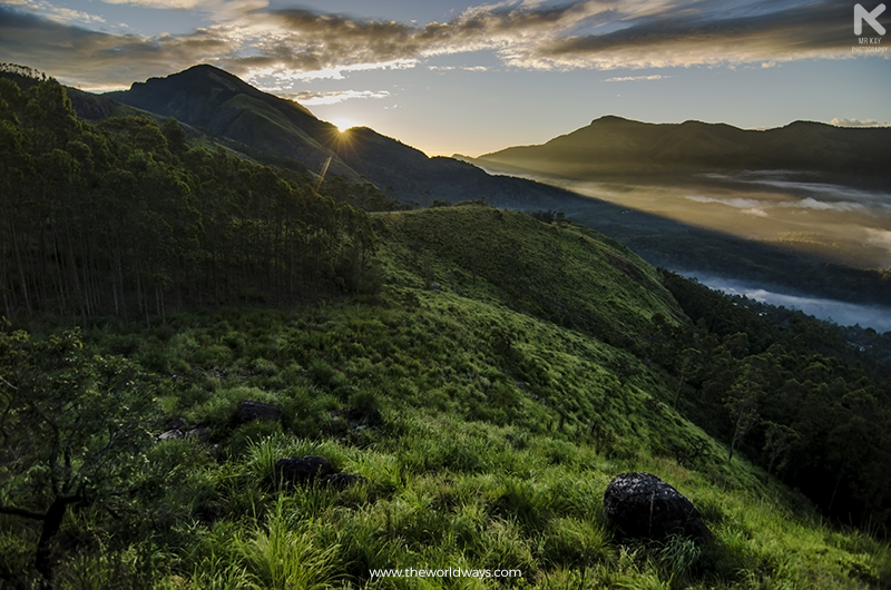 Sunrise from our Camping Site in Suryanelli at Munnar