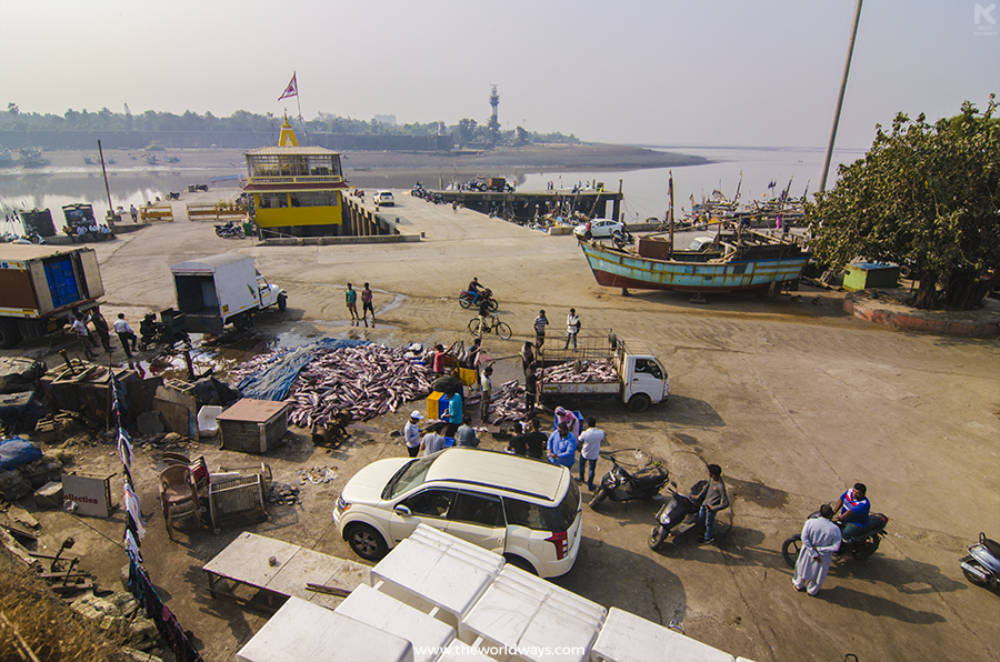 Top angle view of the pretty busy Nani Daman port as well as a distant view of Moti Daman - Daman Travelogue