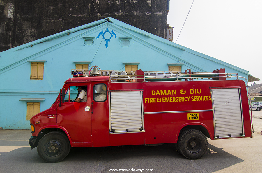 Fire Engine at Daman & Diu - Daman Travelogue